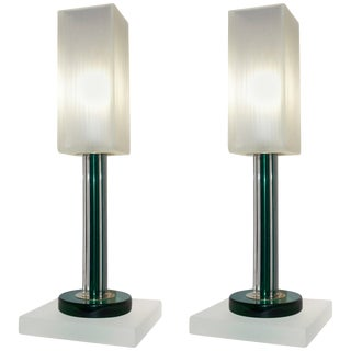 Venini Vintage Green Table Lamps With White Frosted Murano Glass Shades - a Pair For Sale