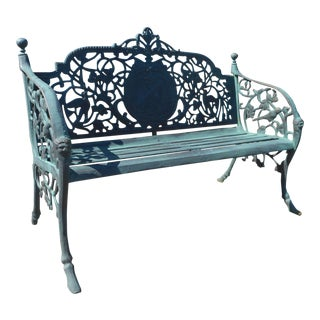 Sculpted Cast Iron Bench For Sale