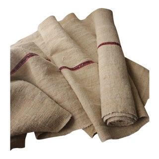 Vintage Grain Sack Fabric Red & Black Striped Grainsack Linen 5.5 Yards Hemp For Sale