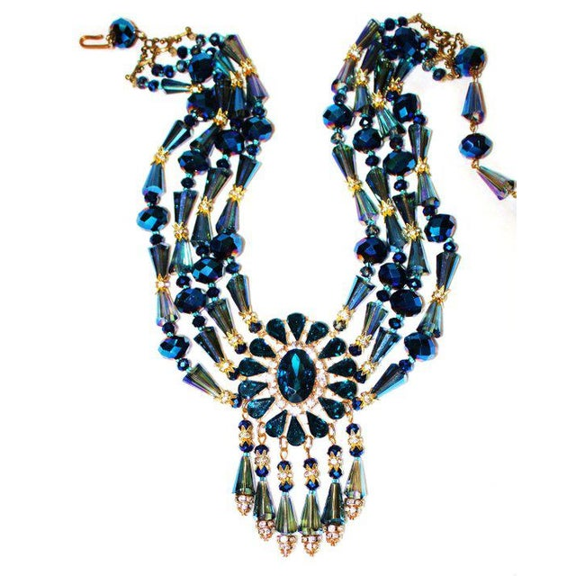 Modern 1980s Vintage Midnight-Blue Faceted Glass Bib Necklace For Sale - Image 3 of 5