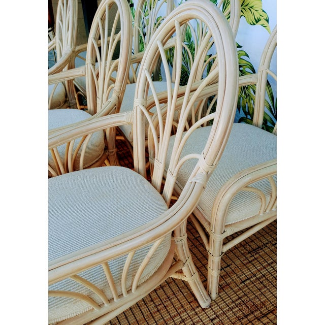 Tan Vintage McGuire Style Natural Coastal Rattan Dining Arm Chairs Set of 6 For Sale - Image 8 of 10