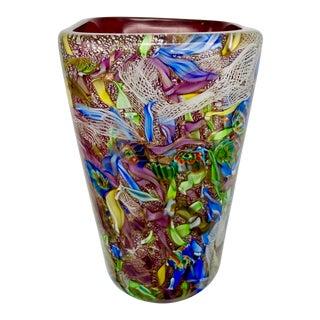 Anzolo Fuga for Avem Mid-Century Murano Tutti Fruiti Latticino Vase