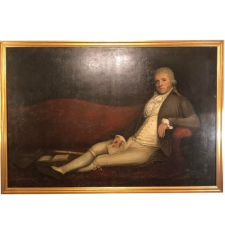 Monumental 19th Century Oil on Canvas of a Reclining Gentleman in His Study For Sale