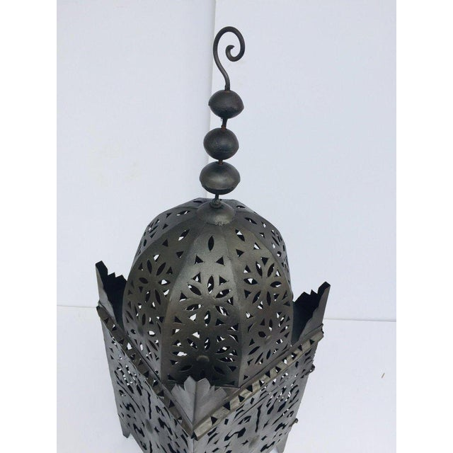 Islamic Large Moroccan Hurricane Metal Candle Lantern For Sale - Image 3 of 13
