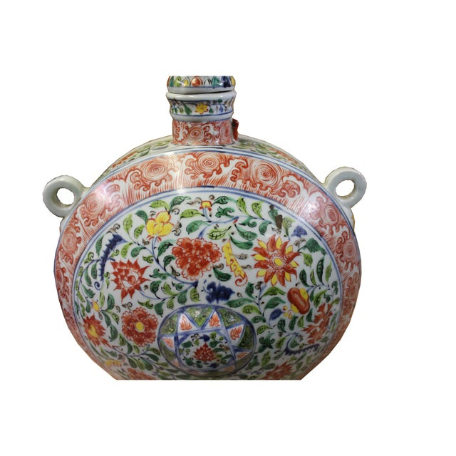 Ceramic Chinese Handmade Multi-Color Flower Porcelain BaoYue Pot Jar For Sale - Image 7 of 8