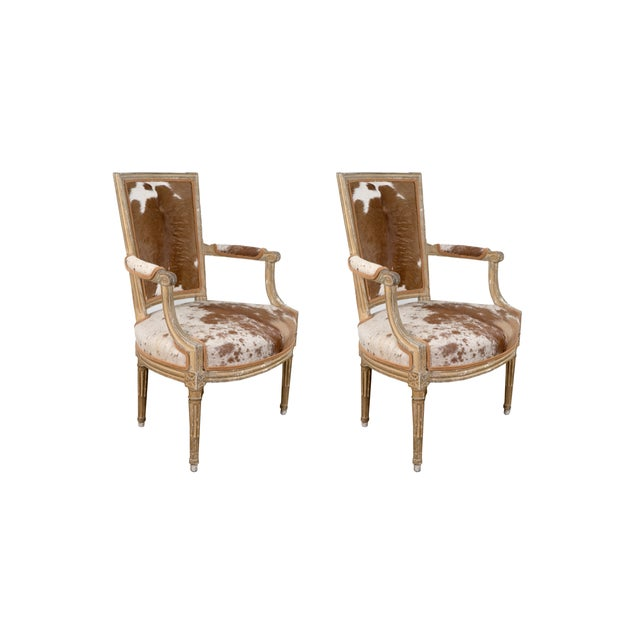 Wood Louis XVI Style Hide Upholstered Fauteuils- a Pair For Sale - Image 7 of 7