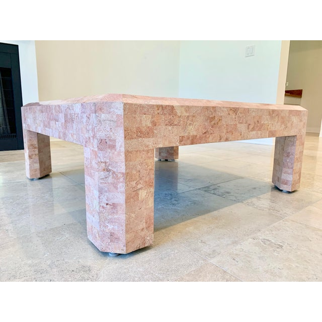 Maitland - Smith Maitland Smith Hollywood Regency Pink Tessellated Stone Coffee Table For Sale - Image 4 of 7