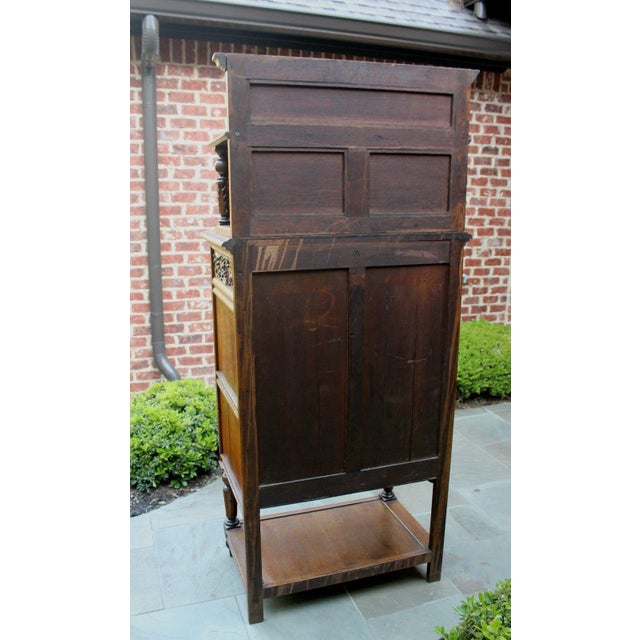 Antique French Oak 19th Century Renaissance Revival Gothic Vestry Sacristy Wine Altar Cabinet Bookcase For Sale - Image 11 of 13