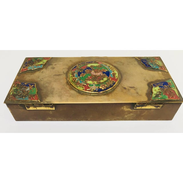 Gold Brass Art Deco Lidded Box With Enameled Decoration For Sale - Image 8 of 13
