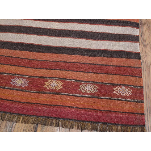 1950s Banded Kilim For Sale - Image 5 of 7