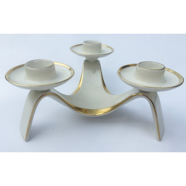 White and Gold Tri-Candle Holder - Image 2 of 3