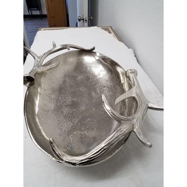 Contemporary Nickle Serving Bowl With Deer Antler Handles For Sale - Image 3 of 11