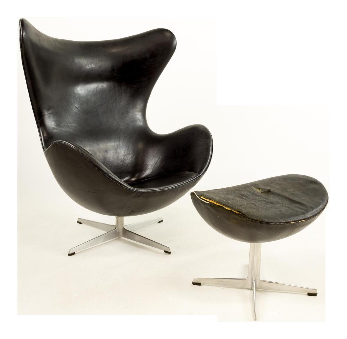 1960s Mid Century Modern Arne Jacobsen For Fritz Hansen Leather Egg Chair U0026  Ottoman