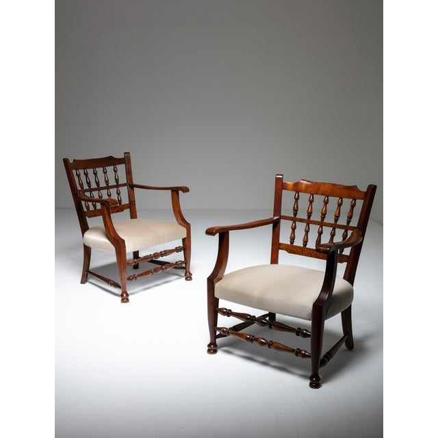 Mid-Century Modern Rare Pair of Armchairs by Tomaso Buzzi For Sale - Image 3 of 7