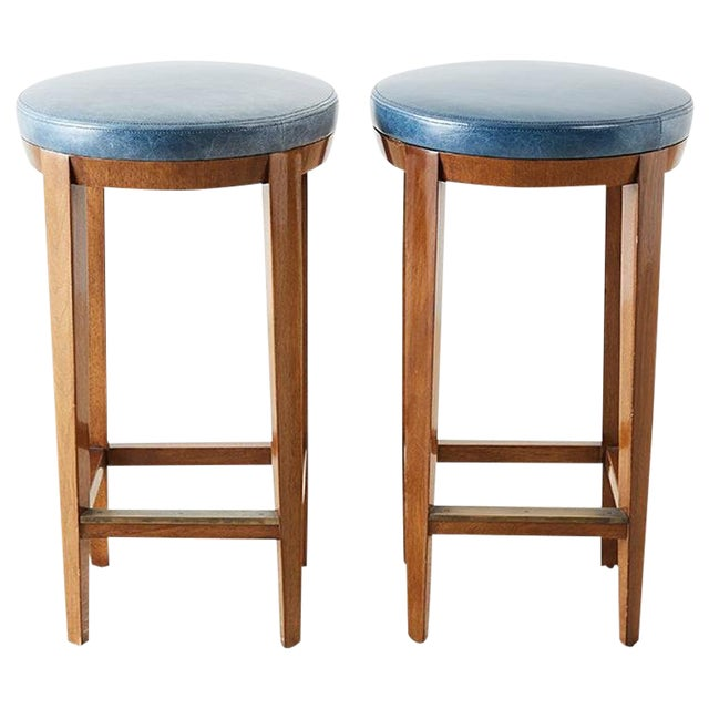 Pair of Dessin Fournir Leather Mahogany Bar Stools For Sale