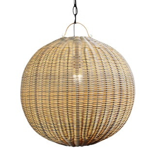 Faux Rattan Globe Lantern 18 For Sale