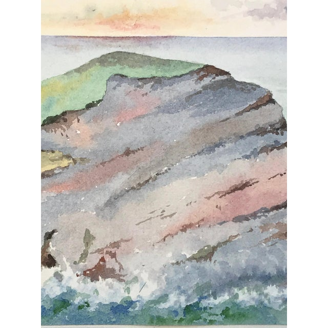 1900 - 1909 Antique English Watercolor Painting of Sunset on Coastal Rock Formation For Sale - Image 5 of 9