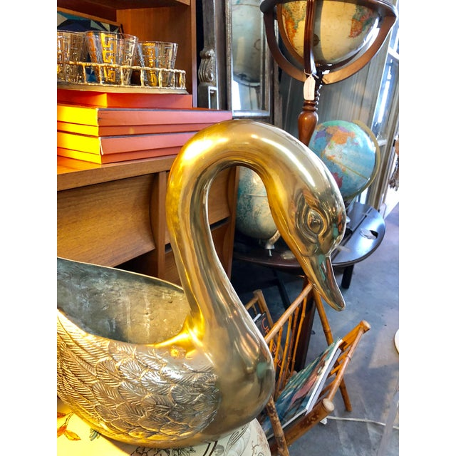 Silid Brass Swan Planter For Sale - Image 4 of 10