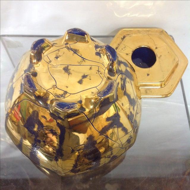 Hollywood Regency Royal Blue Gilt Ceramic Jar For Sale - Image 5 of 5