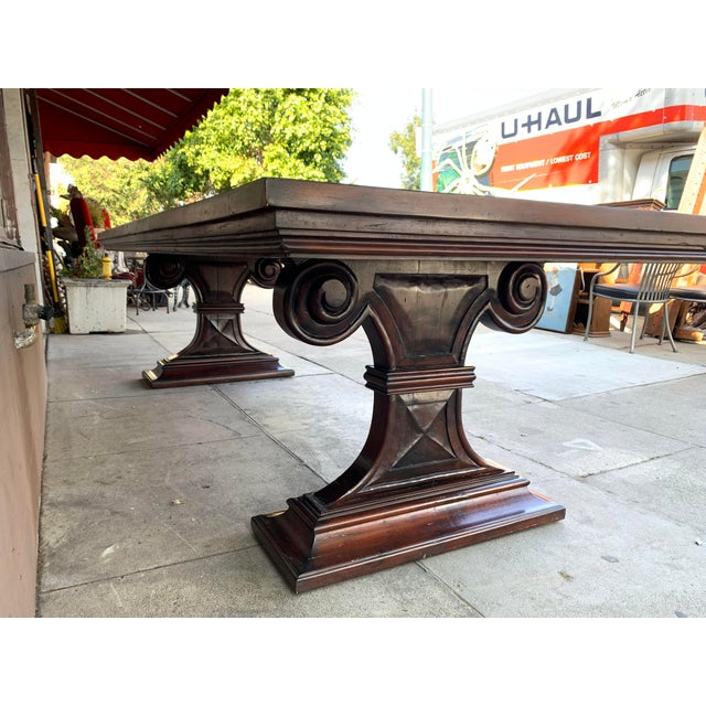 1980s Traditional Solid Wood Mahogany Dining Table For Sale - Image 10 of 12