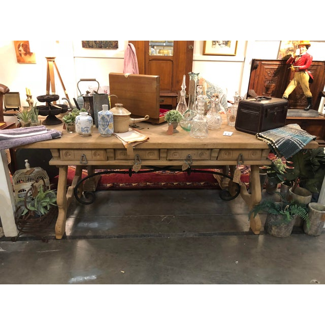 Iron Antique English Oak Farm Table with Iron Stretcher and Drawers For Sale - Image 7 of 10