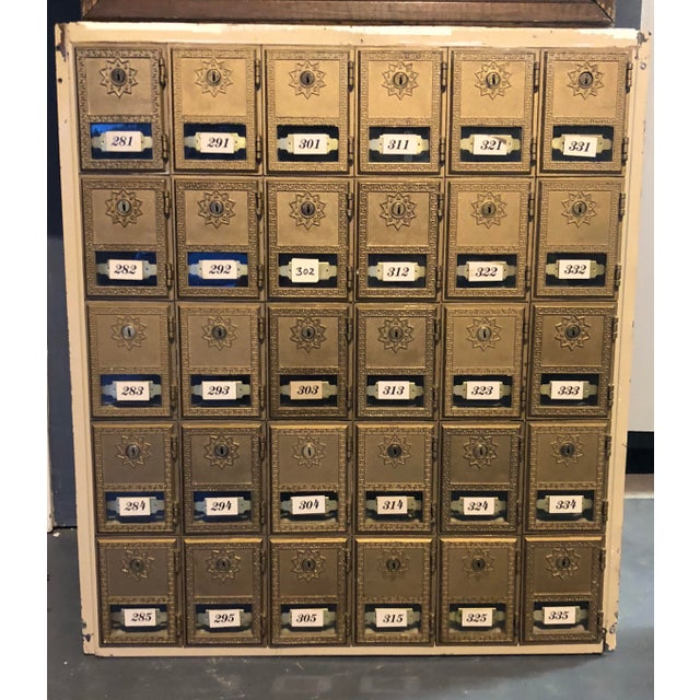 Brass Antique Art Deco Salvage Post Office Box For Sale - Image 7 of 7
