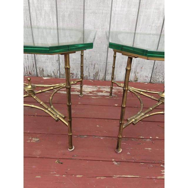 Hollywood Regency Faux Bamboo Side Tables - A Pair - Image 5 of 8