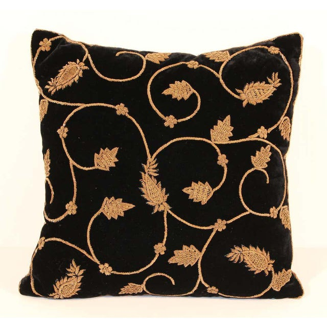 Indian Black Silk Velvet Throw Pillow Embroidered with Gold Design For Sale - Image 3 of 11