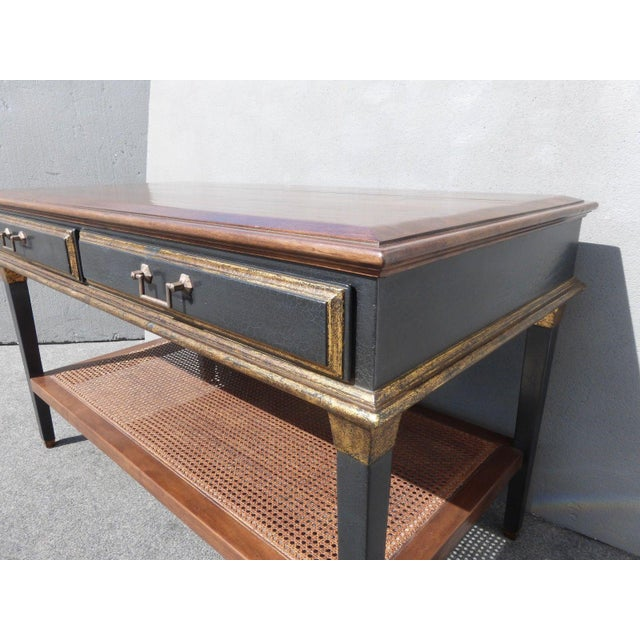 Hollywood Regency Black & Gold Crackle Finish Library Console Table For Sale - Image 9 of 11