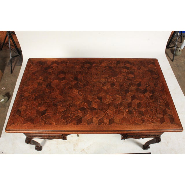 1930s French Louis XV-Style Parquet Top Writing Desk For Sale - Image 4 of 9