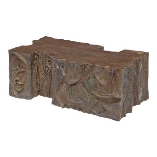 Philip and Kelvin Laverne Custom Bronze Sculpted Relief Coffee Table, 1969 For Sale
