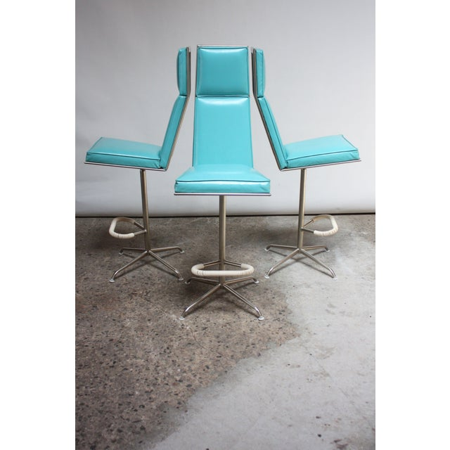 Mid-Century Modern Set of Three American Modern High-Back Barstools by Jansko For Sale - Image 3 of 13