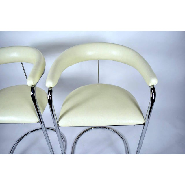Thonet Attributed Barstools in New Duralee Upholstery - A Pair For Sale - Image 4 of 7