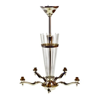 French Art Deco Chrome and Glass 5 Light Chandelier