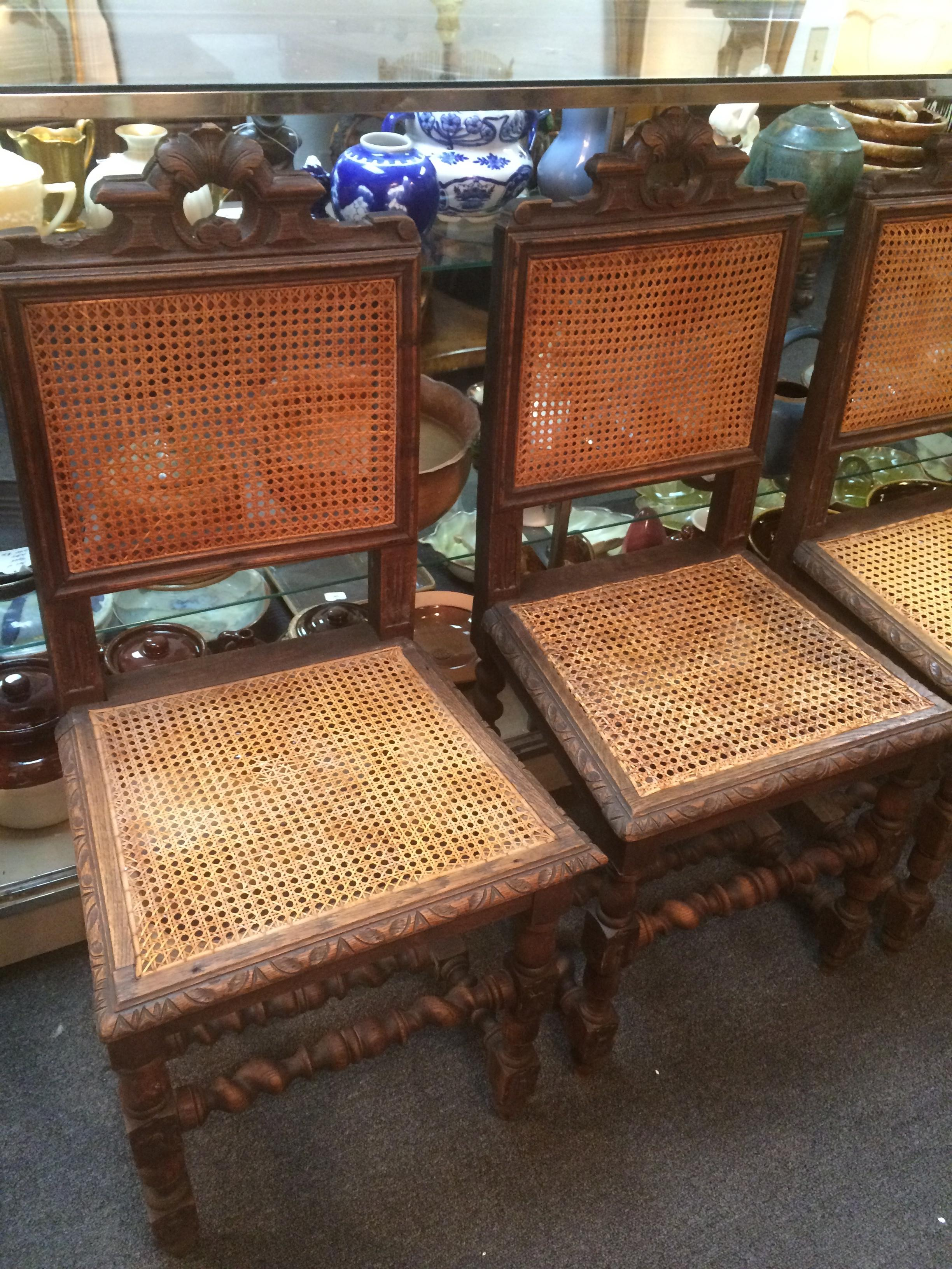 Jacobean Era Carved Cane Dining Chairs   Set Of 5   Image 8 Of 11