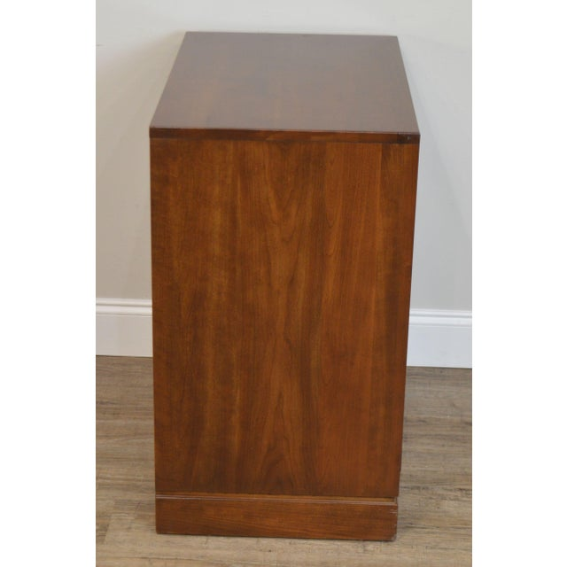 Brown Ethan Allen Campaign Style Pair Solid Cherry 3 Drawer Chests Nightstands For Sale - Image 8 of 13