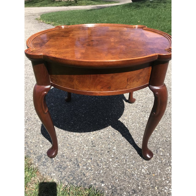 Mid 20th Century Traditional Queen Anne Walnut Side Table by Hekman For Sale - Image 5 of 6