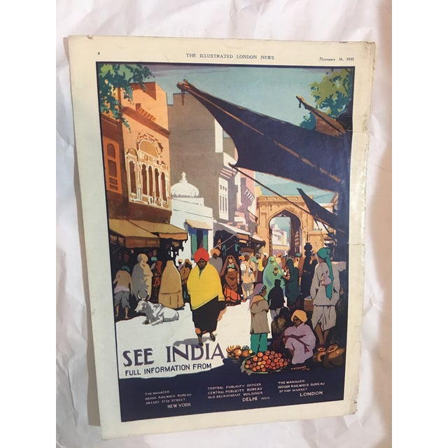 """A beautiful 1935 ad from The Illustrated London News titled """"See India """" by V. Veevers showing a scene in Lahore...."""