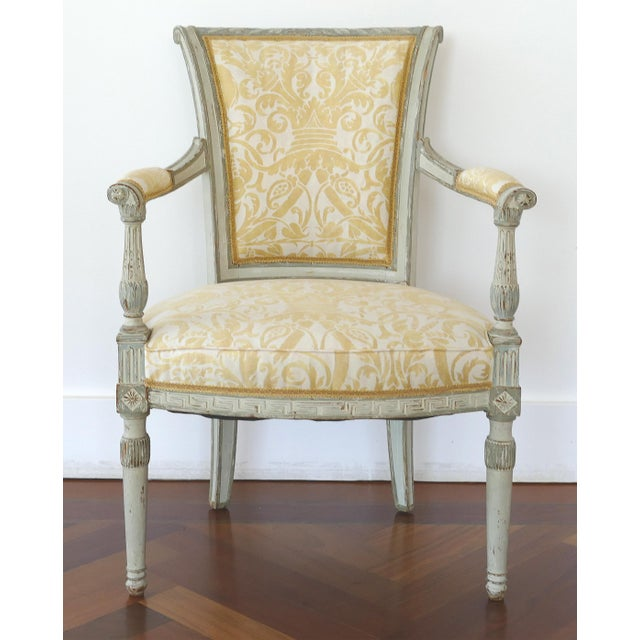 Antique Swedish Painted Armchairs With Fortuny Fabric - a Pair For Sale - Image 11 of 13