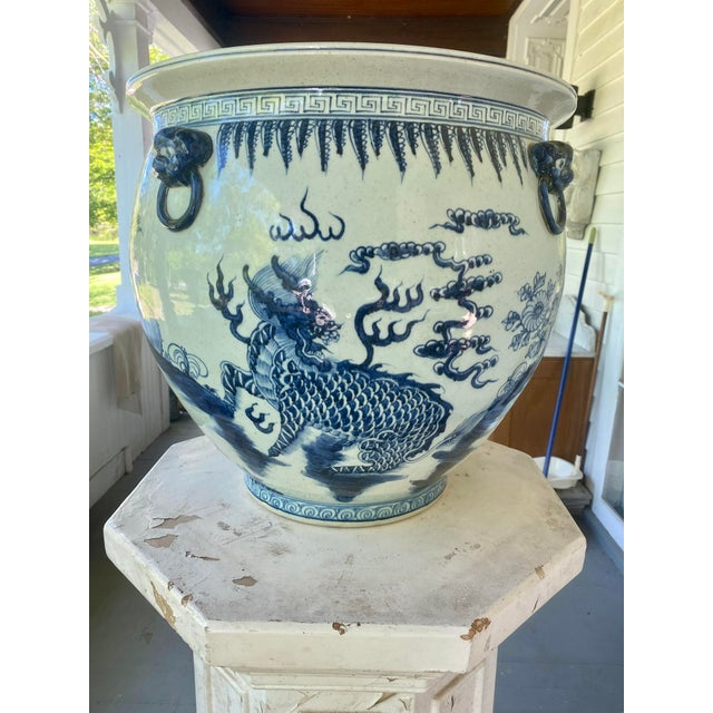 Large Vintage Blue & White Dragons Asian Fish Bowl Planter Pot For Sale - Image 12 of 12