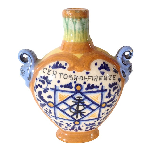 Blue and Orange Italian Bottle For Sale