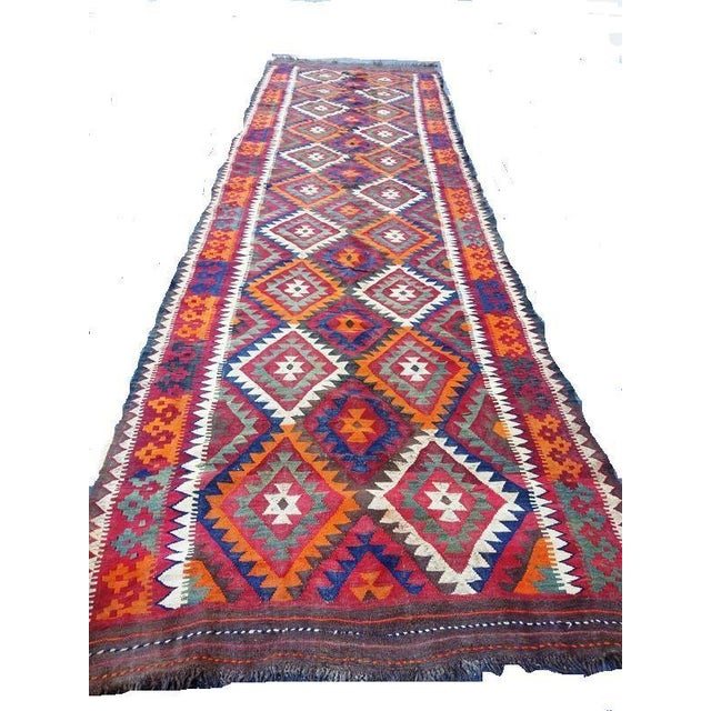Mid 20th Century Vintage Handwoven Caucasian Kilim Rug - 5′ × 16'′ For Sale - Image 5 of 5