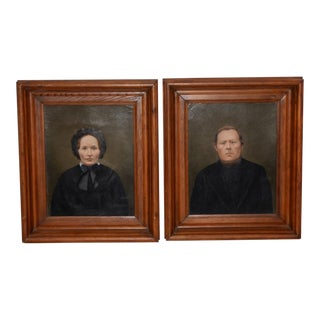 Mid 19th Century Amish Oil Portraits - a Pair For Sale