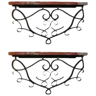1940s Art Deco Jean Royere Inspired Wrought Iron Wall Consoles - a Pair For Sale