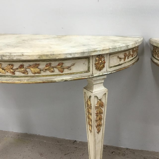 1920s 1920s Italian Painted Carved and Gilt Demi Lune Console Tables - a Pair For Sale - Image 5 of 13