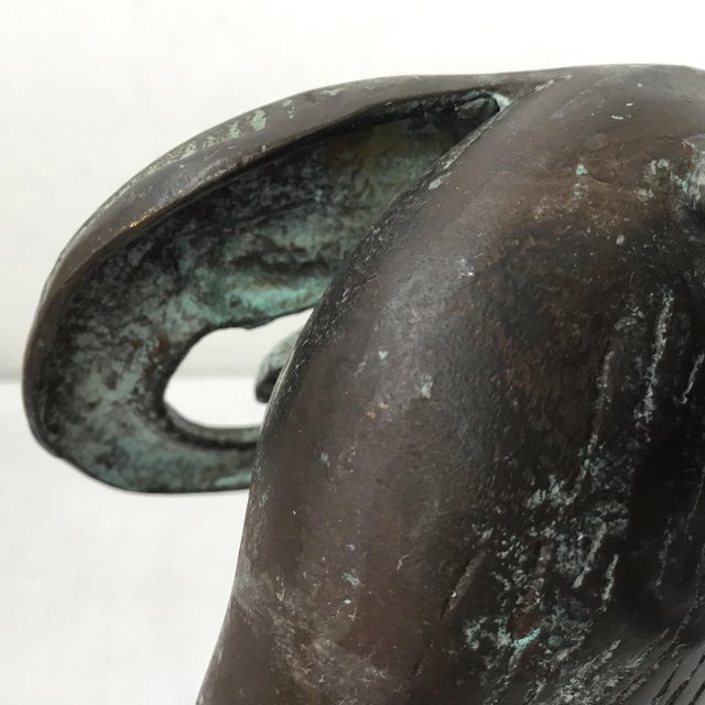 Gold Mid Century Brass Ram Head Statue For Sale - Image 8 of 11