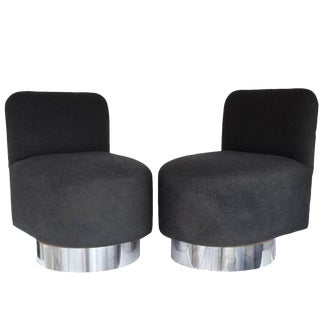Pair of 1970s Swiveling Slipper Chairs For Sale