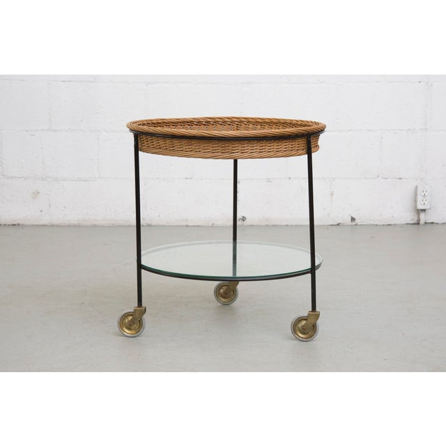 Teak and Woven Rattan Rolling Cart - Image 2 of 7