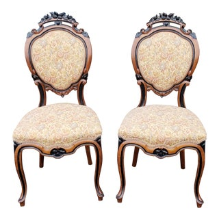 Antique 19th Century Satinwood & Ebony Carved Victorian Parlour Chairs- A Pair For Sale
