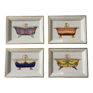 Andrea by Sadek Porcelain Trays With Antique Bathtubs - Set of 4 For Sale